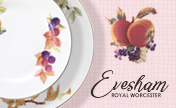 "Royal Worcester's ""Evesham Gold"" pattern is now at our stores!"